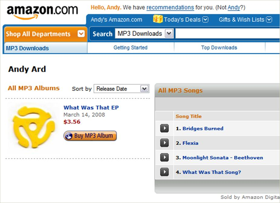 New MP3 Tracks available on Amazon com – Andy Ard
