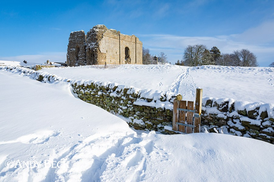 Bowes Castle in snow, Teesdale