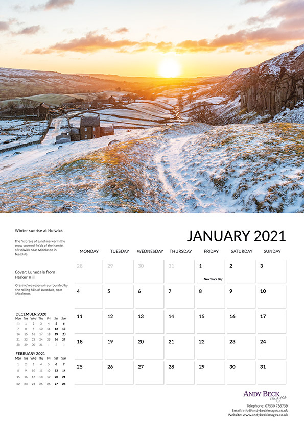 Teesdale calendar 2021 January