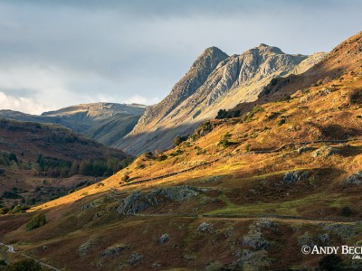 Evening Light on the Langdale Pikes