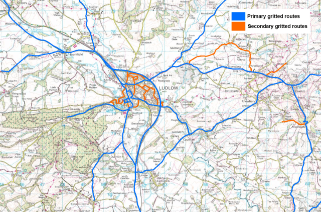 Primary_and_secondary_gritting_routes in_and_around_Ludlow