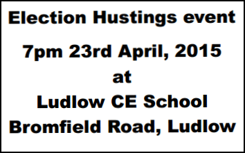 Churches Together to hold election hustings in Ludlow, 23 April