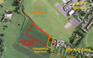 Plans for five homes on Burway Lane, Ludlow refused