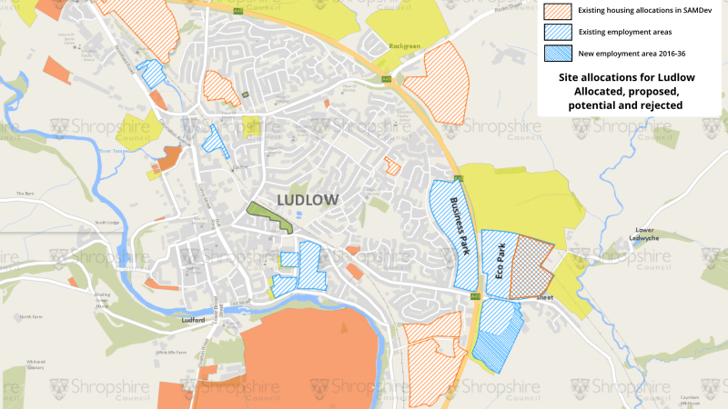 New development sites for Shropshire – just two of 64 potential housing sites in Ludlow made it through to the local plan