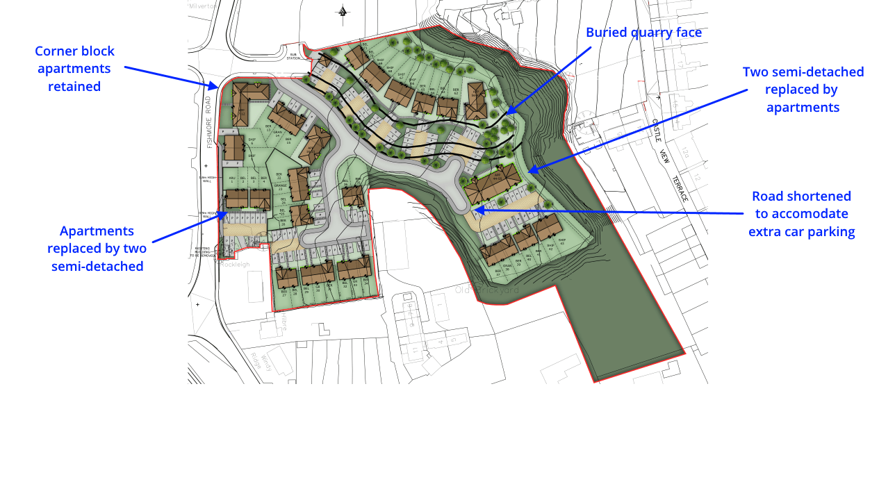 Revised plans submitted for 67 homes at Fishmore Quarry – they are more a tweak than a rethink and need improving