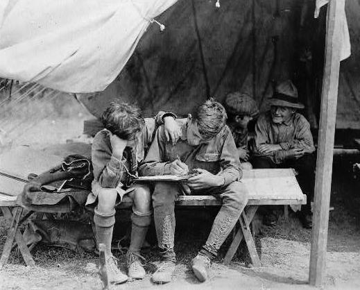 Boyscouts Writing Letter - Frugal Guidance 2 - http://andybrandt531.com