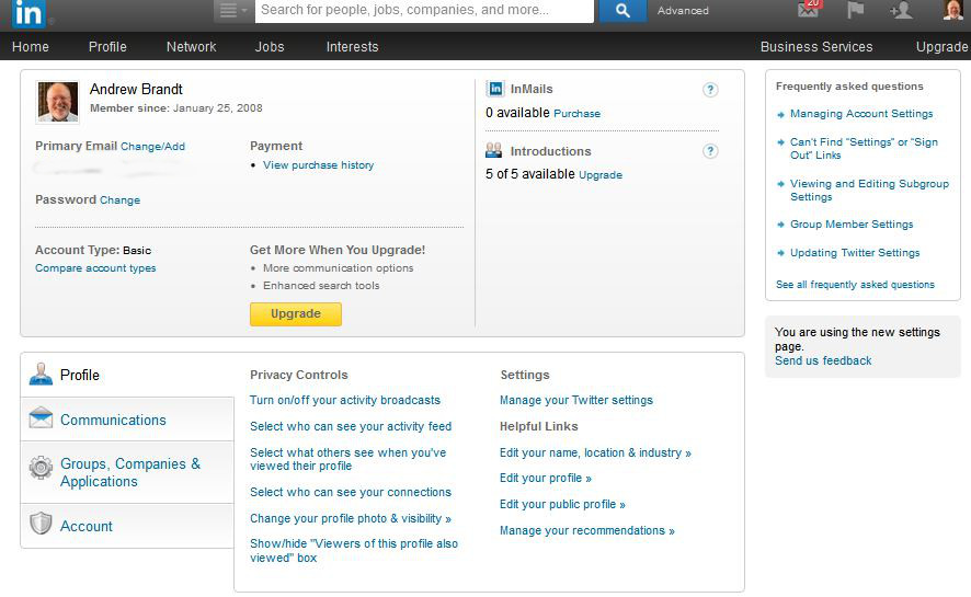 LinkedIn main settings page
