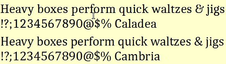 Caladea vs Cambria