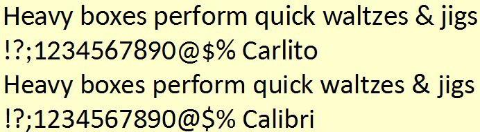 Comparison of Open Source Carlito (top) and Microsoft's Calibri (bottom)