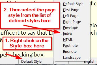 Selecting Page Styles from the Status Bar