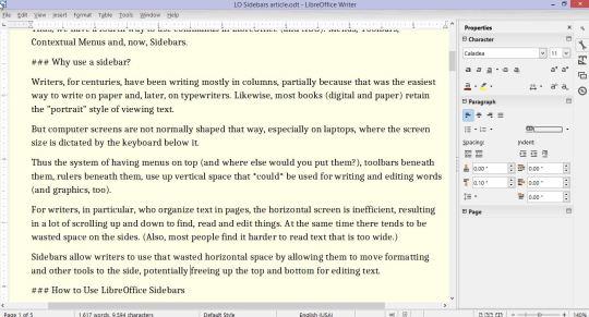 LibreOffice Sidebars
