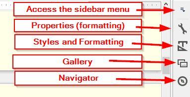 LibreOffice Sidebar icons