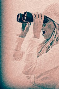 Woman Looking through Binoculars - Imagemajestic