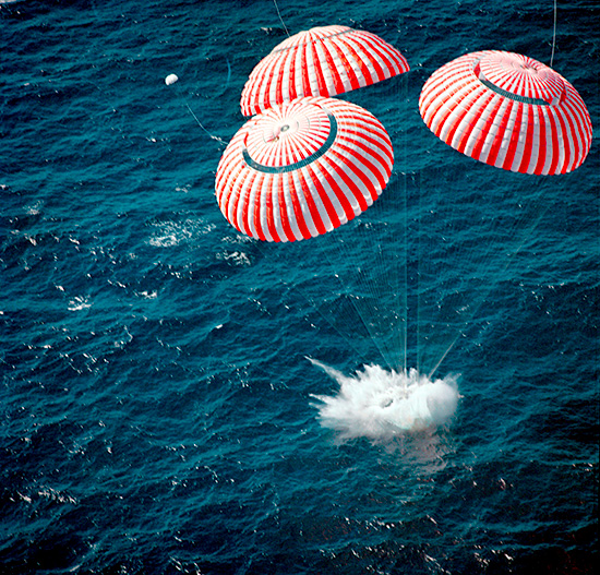 NASA Space capsule splashdown - on Frugal Guidance 2