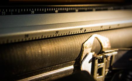 Detail of a typewriter platen