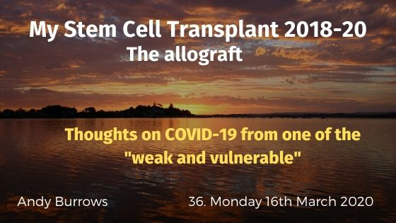 "Thoughts on COVID-19 from one of the ""weak and vulnerable"""