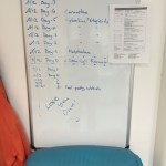 SCT Schedule on Whiteboard in Isolation Room (Dec 15)