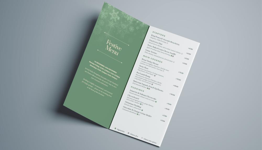 The Dovecote Inn Christmas Events Brochure Design