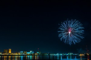 July 4th fireworks over Baton Rouge