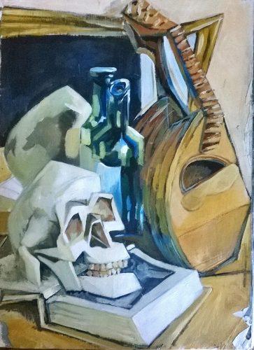 Sketchbook Still Life with Skull and Mandolin