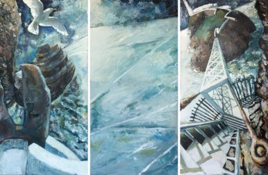Up and Down South Stack Steps (Acrylic on Board 130cm x 43cm x 3 panels)