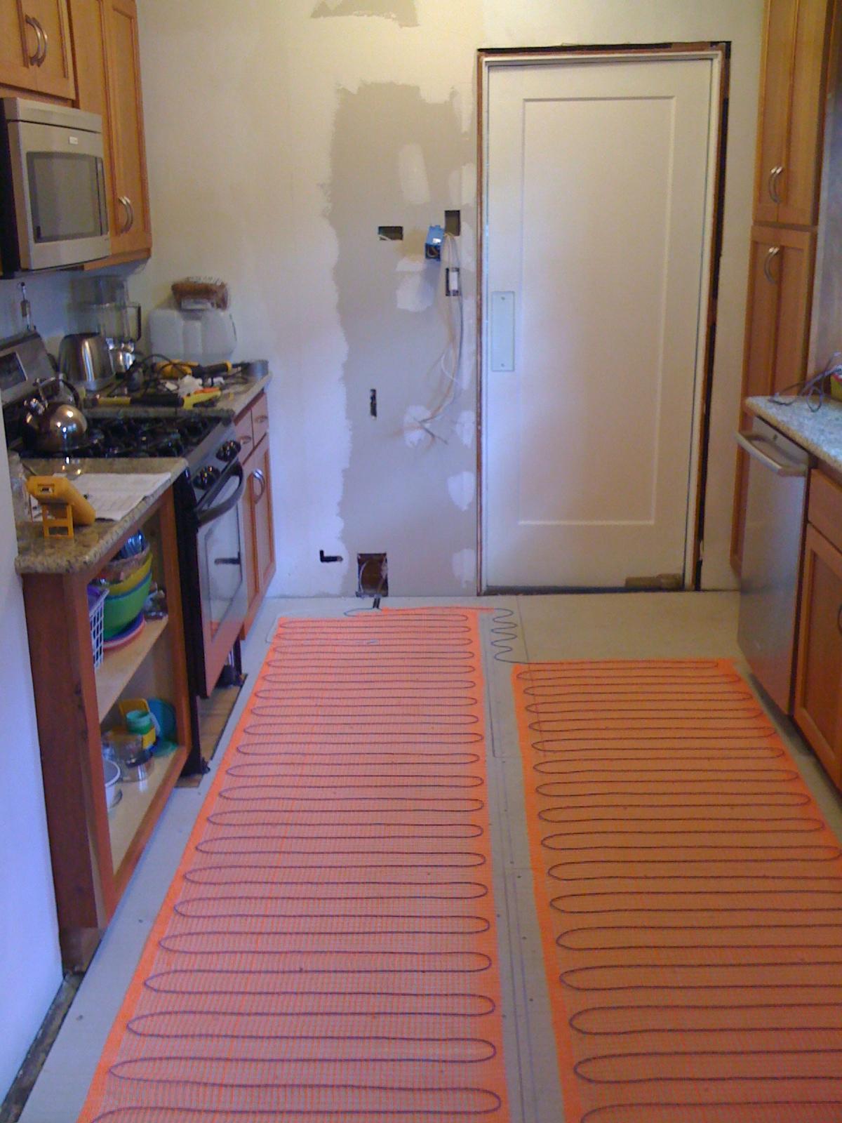 Kitchen DIY heated floor and new tile  Andy Idsinga make