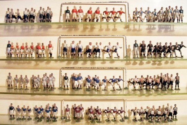 Britains football teams. Lead toy figures made from 1906 to 1941. one Arsenal player must have been sent off.