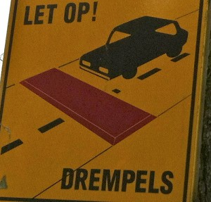 Speed bump sign in Amsterdam