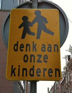 Look out for children sign in Amsterdam