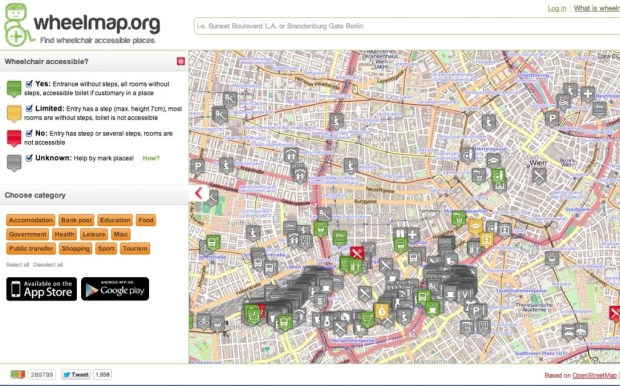 wheelmap.org map. wheelmap.org was one of the finalists in the Open Cities app contest.