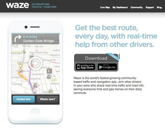 Waze Application Homepage
