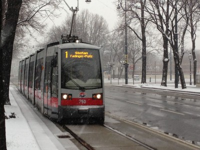 Vienna Ringstrasse tram in the snow.
