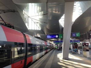 Regional train from Burgenland at Vienna Hauptbahnhof (main train station), August 2013.