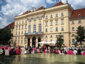 Vienna MuseumsQuarter courtyard summer.