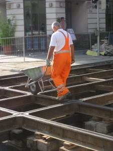 Westbahnstrasse - Kaiserstrasse tram track renovation August 2009.