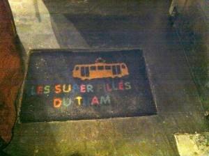 Door mat at Les Super Filles du Tram restaurant in Brussels - neat.