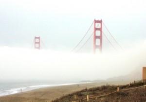 Golden Gate Bridge in the fog from Baker Beach (2004).