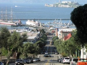 View of Maritime Park in San Francisco from Hyde Street on Russian Hill.