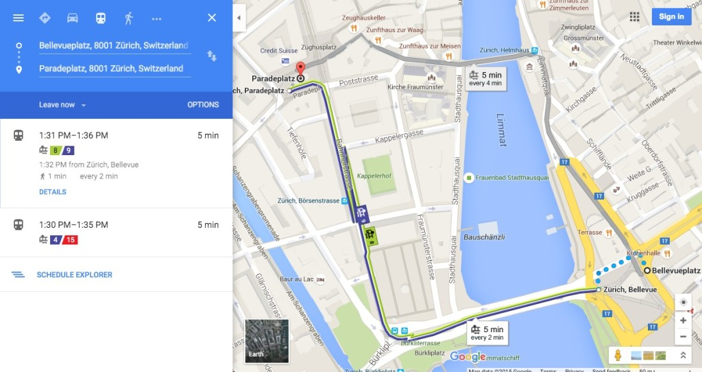 Google Map of Zurich with public transport information.