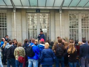 Photo of tour group in front of Postsparkasse Vienna
