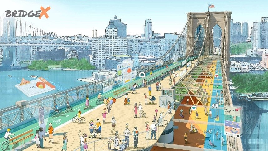 Illustration of Bridge X proposal for Brooklyn Bridge developed by ScenesLab
