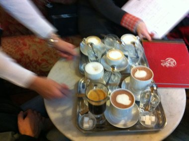 Photo of coffee being brought to the table at Cafe Sperl in Vienna