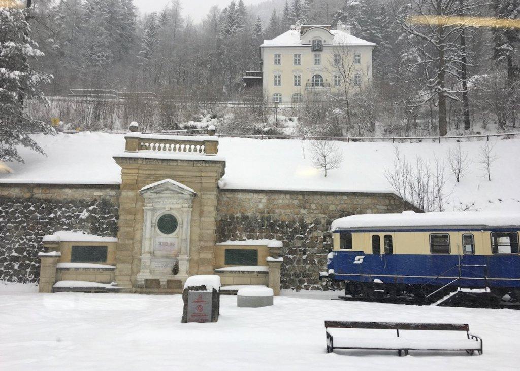 Photo of Karl Ritter von Ghega monument in Semmering Austria.