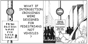 Cartoon asking what if intersection crossings were designed for pedestrians not vehicles?