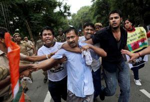 Kejriwal at a polic clash in 2012