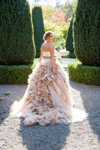 a wedding gown created out of toilet paper