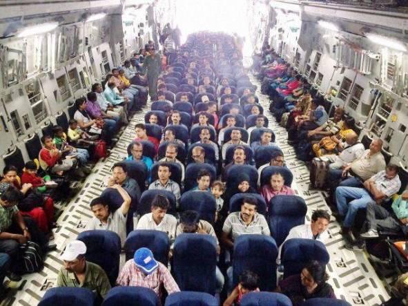 People evacuated from Yemen seated in an IAF C-17 Globemaster-III at Djibouti on April 3, 2015.