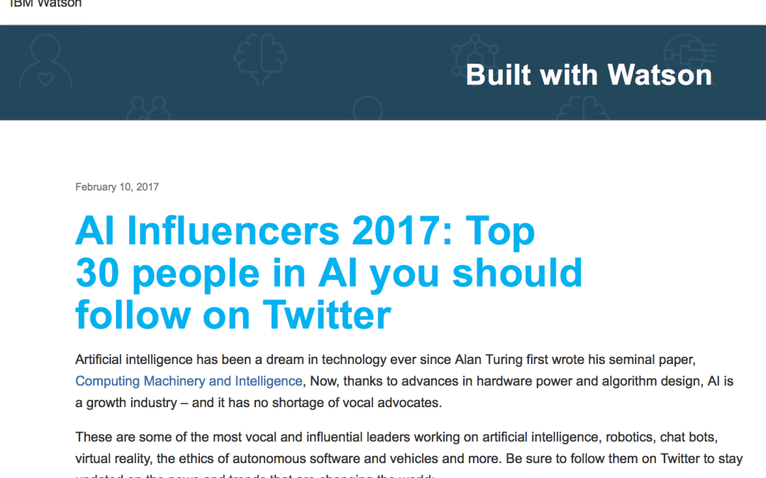 IBM Watson List of AI Influencers for 2017