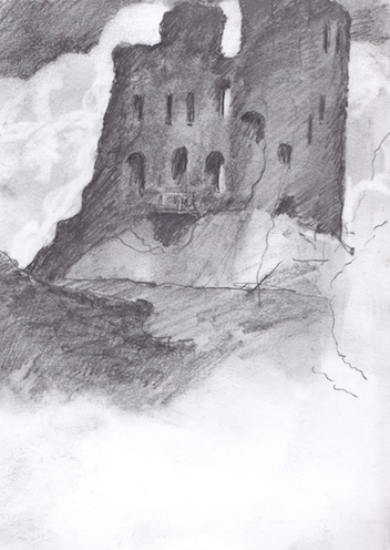 "Scarborough Castle - 6x8"" - pencil."