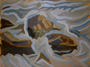"Dyfi Rocks 5 - 45x62"" - Oil on canvas"